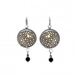 Boucles d'oreilles pendantes rondes collection Yule Cercles ronds noir, blanc et or