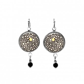 Beaded dangle earrings with a glamorous round circles themes in black, white and a touch of gold