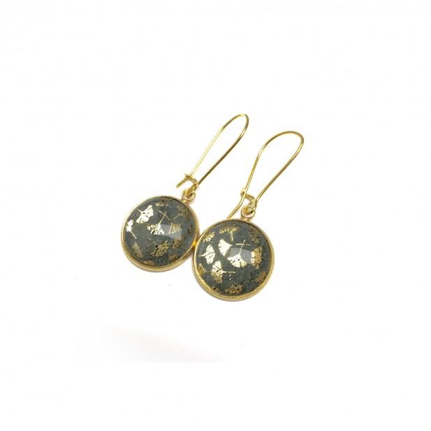 Ginkgo leaf moss green dangle earrings