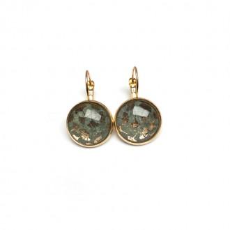Ginkgo leaf moss green and gold leaver-back earrings