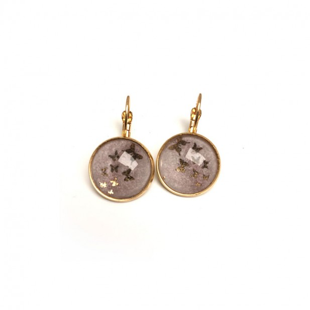 Golden butterflies and pink watercolour leaver-back earrings