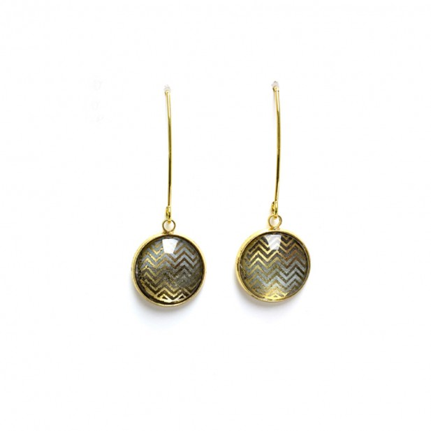 Gold chevrons and grey watercolour dangle earrings