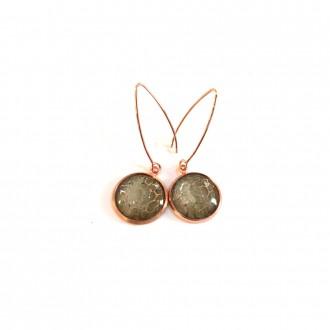 Rose gold and kaki watercolour dangle earrings