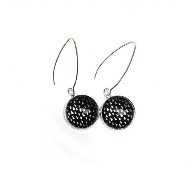 True black with silver triangles dangle earrings