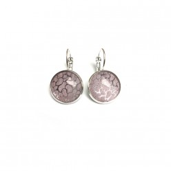 Watercolour pink and silver leaver-back earrings
