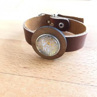 Bracelet en cuir avec boucle pour boutons interchangeables