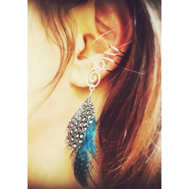 cuff non pierced ears with feathers