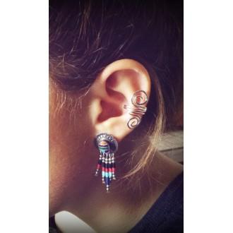 """Boucle d'oreille """"manchette"""" sans piercing double spirale"""