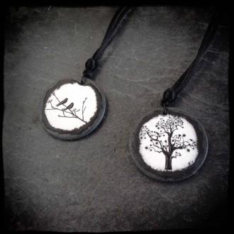 Birds on a branch themed slate necklace