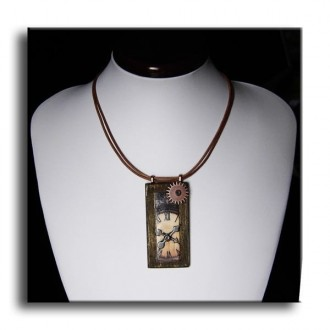 "Mixed medi wood and metal necklace with ""Time"" Theme"