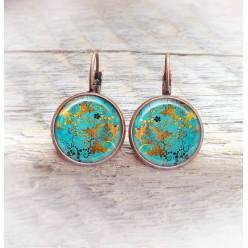 Boucles d'oreilles dormeuses thème turquoise et cuivre