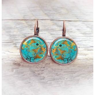Boucles d'oreilles dormeuses thème turquoise et cuivre- support cuivre