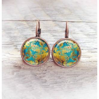 Boucles d'oreilles dormeuses thème or cuivré et turquoise cadre cuivre