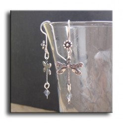 Vintage 1920's style silver dragonfly earrings with a faceted Swarovski glass bead