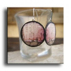 """Asia Grunge pink paper"" themed earrings in light-weight aluminium"