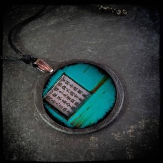 Turquoise Asia Grunge themed slate necklace